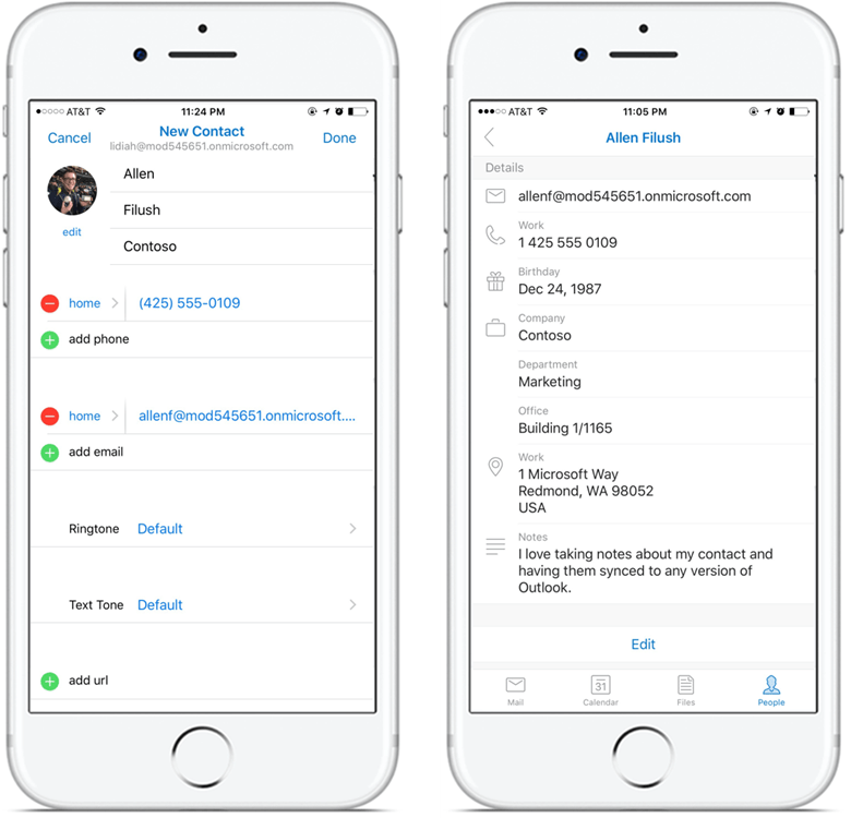 Add and edit contacts from Outlook on iOS and Android