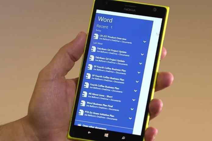 Windows 10 Mobile Office app