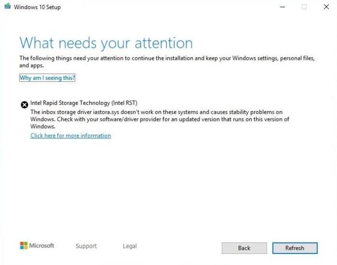 Bloque de Windows 10 RST