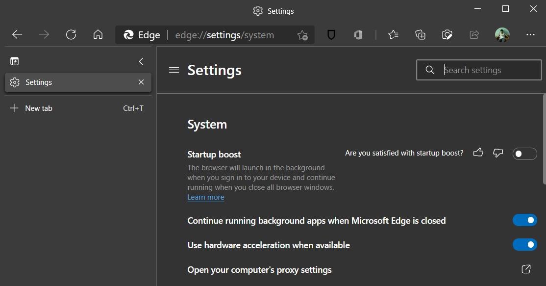 Boost when Microsoft Edge starts