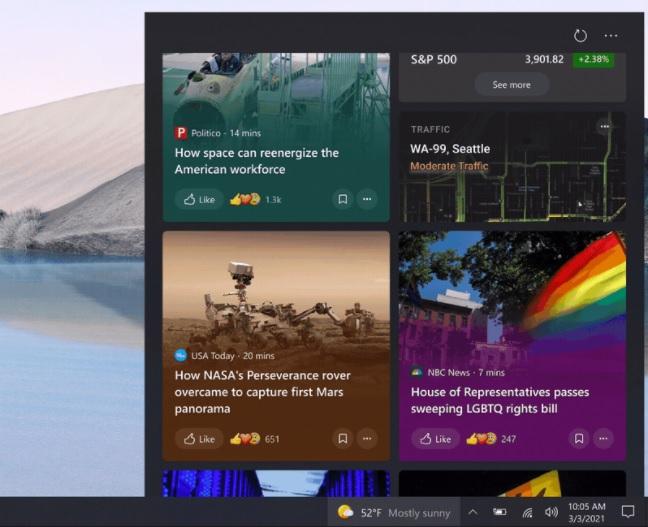 Taskbar feed redesign