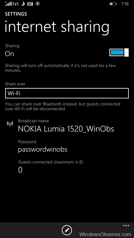 how to turn the windows phone hotspot off over bluetooth