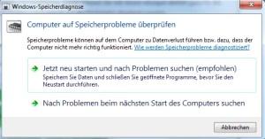 Speicherprobleme ermitteln mit Windows 7 1