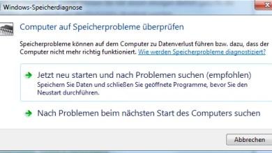Speicherprobleme ermitteln mit Windows 7 0
