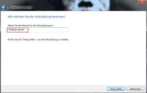 Desktop sperren Verknüpfung auf den Desktop anlegen 2