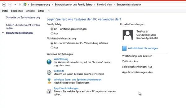Windows 8 Family Safety einrichten 0
