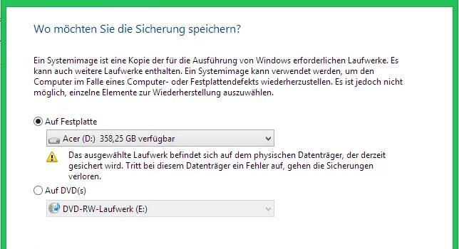 Windows 8.1 Systemsicherung starten 0