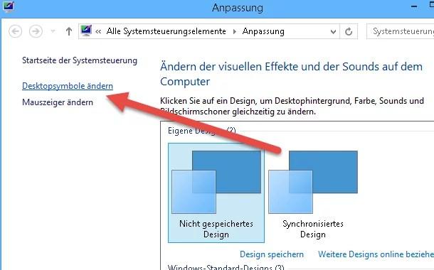 Desktopsymbole ändern - Papierkorb wiederherstellen