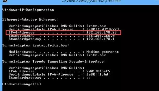 Eigene interne IP herausfinden bei Windows 8.1 0