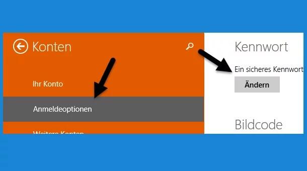 Passwort ändern bei Windows 8.1 0