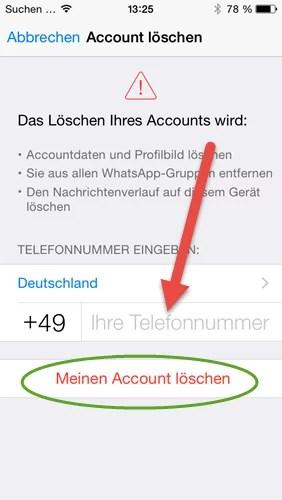 WhatsApp Account iphone meinen account loeschen nr eingeben