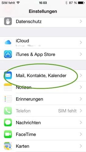 iphone mail kontakte kalender