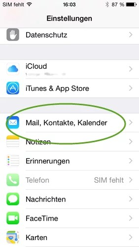 iphone mail kontakte kalender