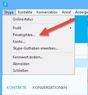 skype privatsphäre