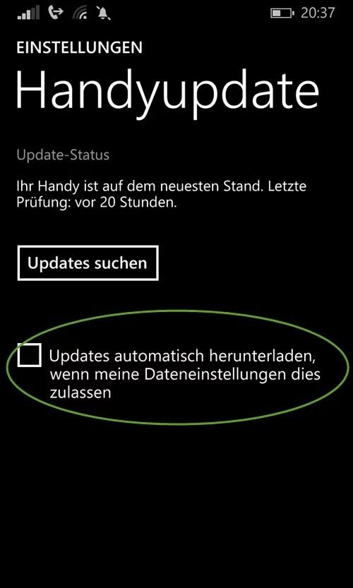 Updates automatisch herunterladen, wenn meine Dateneinstellungen dies zulasse