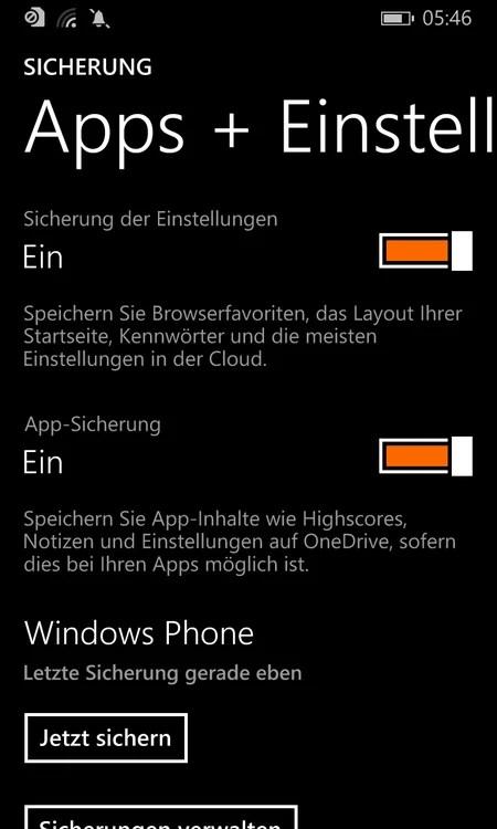 windows phone sicherung Apps