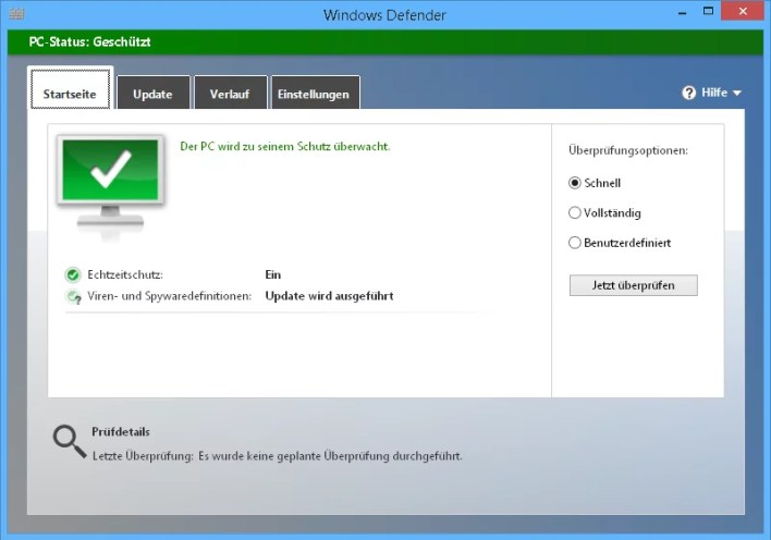 Windows Defender starten