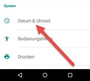 Android-Datrum Zeit