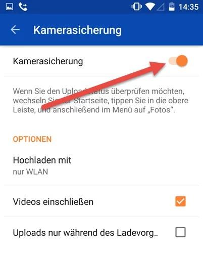 Android OneDrive kamerasicherung aktivieren