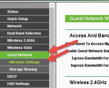 Guest Network Wireless Settings