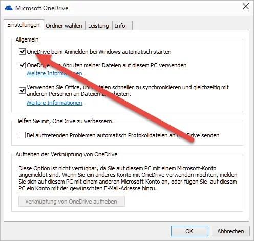 OneDrive beim Anmelden bei Windows automatisch starten