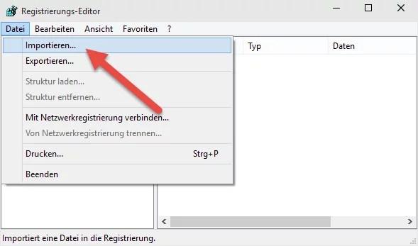registry importieren