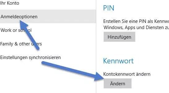 Anmeldeoptionen-kennwort-aendern