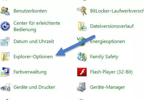 Explorer option -  unterstrichen