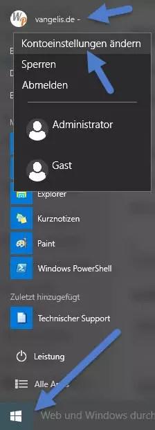 windows-1-kontoeinstellungen