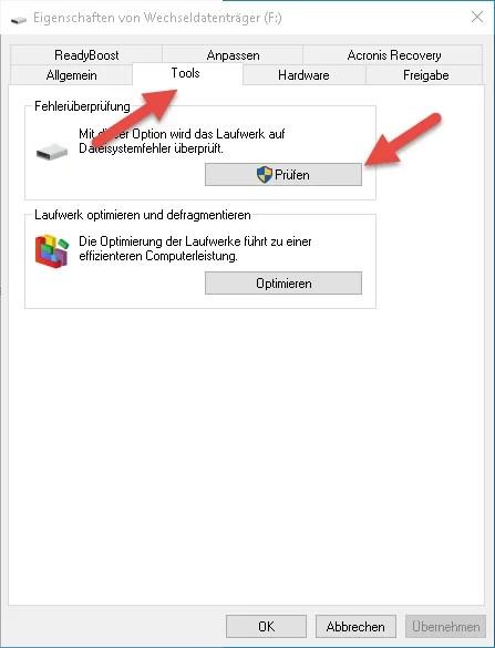 USB-Stick Fehlerbehebung