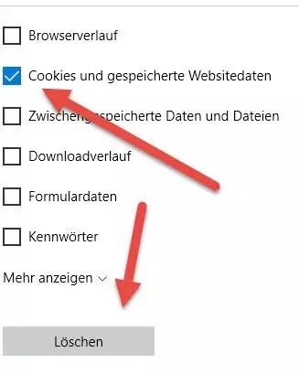 Cookies und gespeicherte Websitedaten