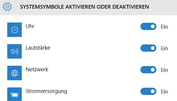 Systemsymbole aus der Taskleiste aktivieren deaktivieren 0