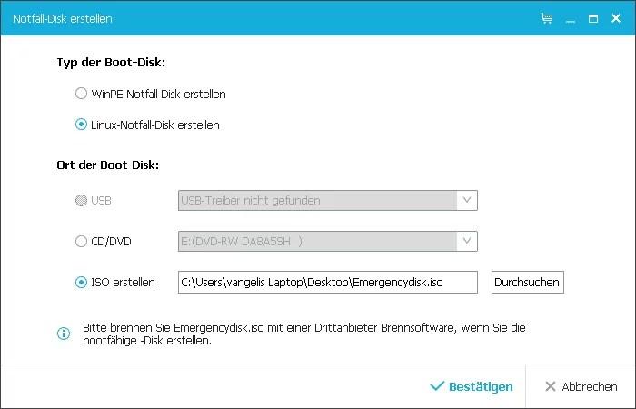 Notfall disk erstellen USB DVD ISO