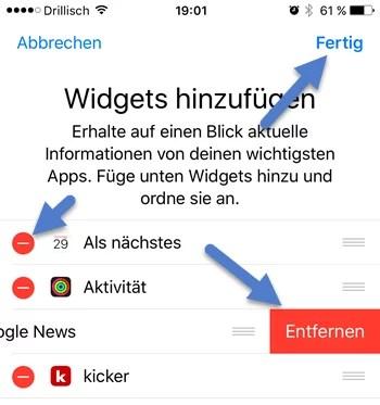 widgets entfernen