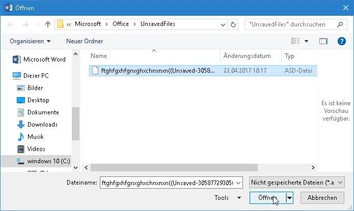 word dokument wiederherstellen - Word - Nicht gespeicherte Dokumente wiederherstellen
