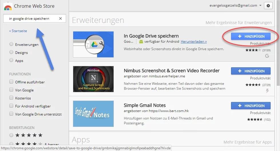 Downloads direkt auf Google Drive speichern mit Chrome Browser