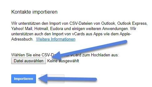 csv oder vCard-Datei impotieren