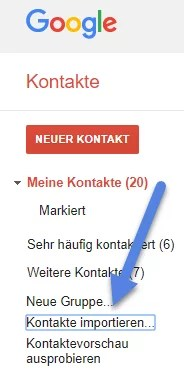 google kontakte importieren