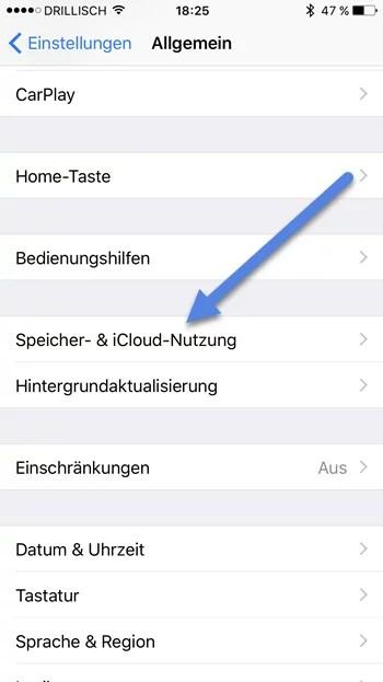 Speicher- & iCloud-Nutzung