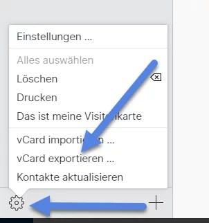vcard exportieren