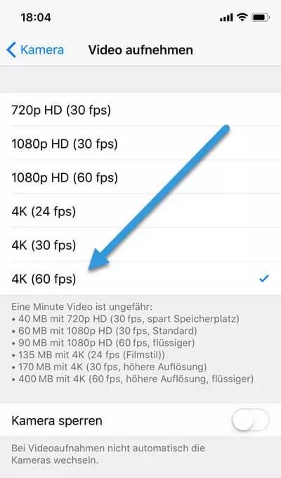 4K-Videos mit 60fps aufnehmen