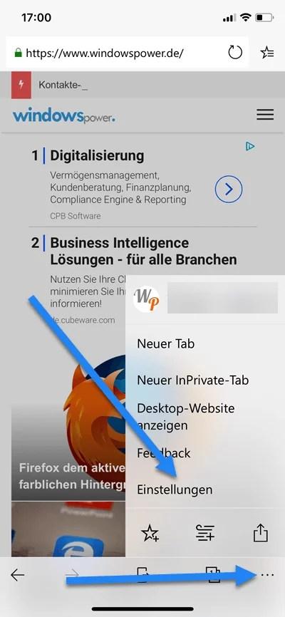 Microsoft Edge Mobile Browser Suchmaschine ändern 0