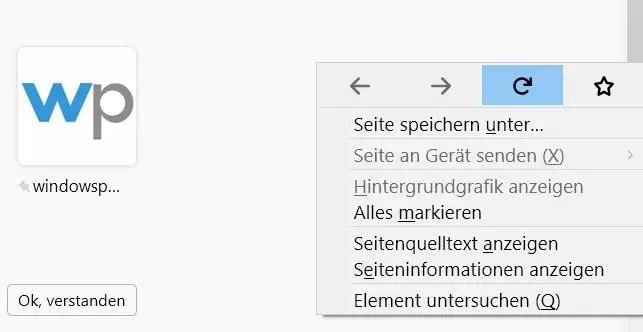 Firefox Tooltip im Rechtsklick Kontextmenü deaktivieren 5