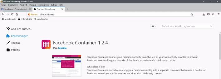 facebook container erweiterung