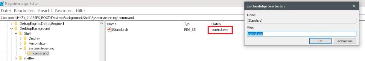 Windows 10 Systemsteuerung ins Kontextmenü hinzufügen 11