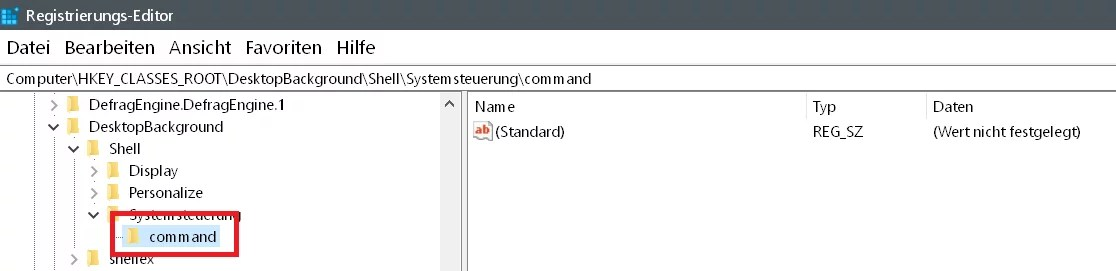 Windows 10 Systemsteuerung ins Kontextmenü hinzufügen 10