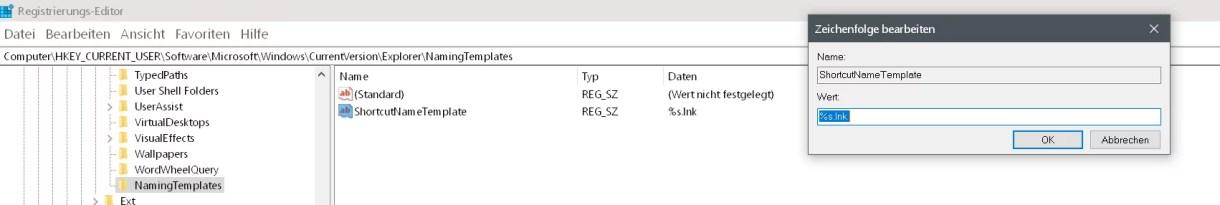 """Windows 10 Den Zusatz """"Verknüpfung"""" entfernen auf dem Desktop 9"""