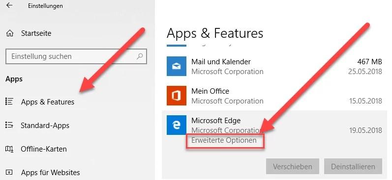 Microsoft Edge und weiter auf Erweiterte Optionen