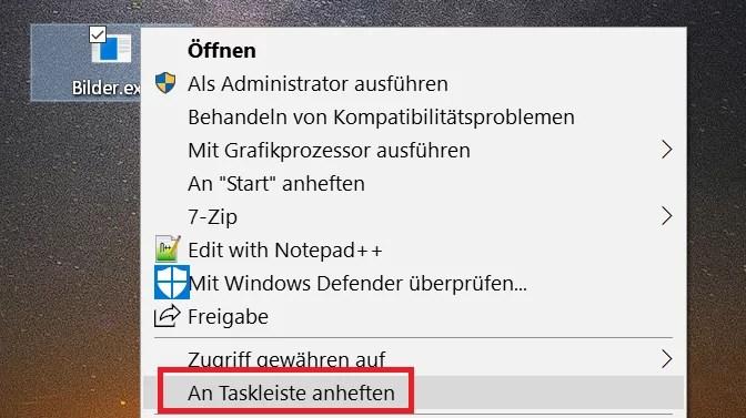 Windows 10 Ordner an die Taskleiste anheften 4