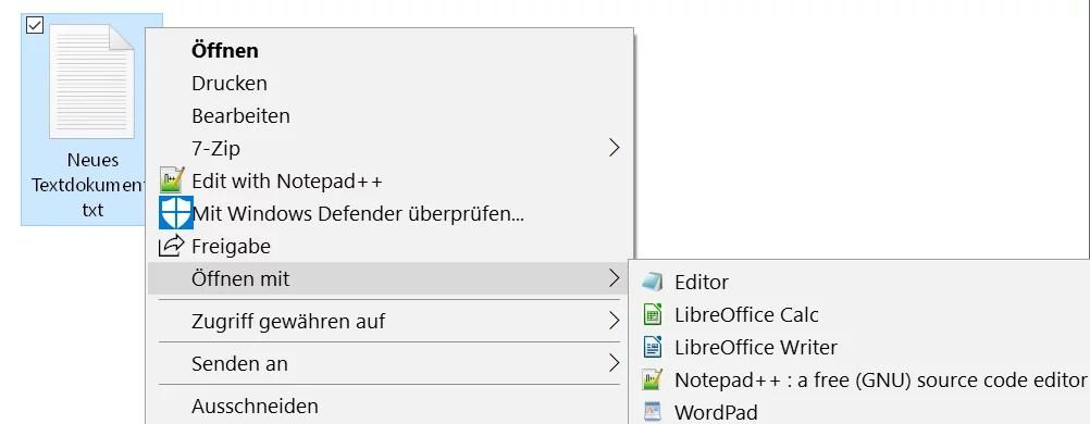 Windows 10 Öffnen mit.. Einträge im Kontextmenü ändern 10